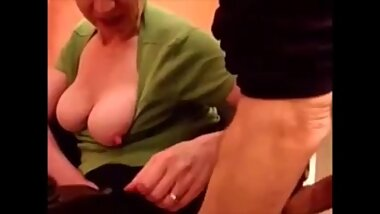 Old mom sucking young dick
