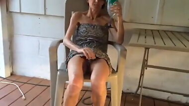 skinny wife showing her hairy pussy after a glass a wine