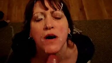 55 year old slut Granny takes facial and loves it