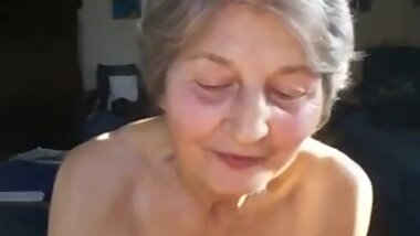 grandma performs handjob and licks cock afterwards