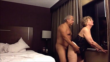 Grandpa and grandma at the hotel
