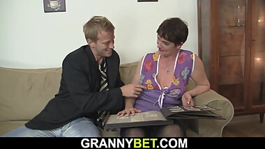 Her shaggy old pussy is filled with big man meat