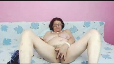 Hairy granny playing on webcam