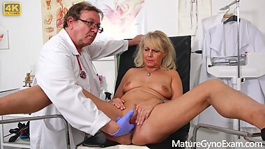 Mature gyno exam of hot granny by freaky doctor