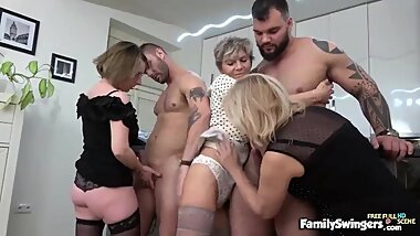 Three Wild & Sexy Grannies Have Sex With 2 Young Men!
