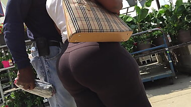 OMG Thick Ass BBW Ebony Granny Booty and Hips Spandex