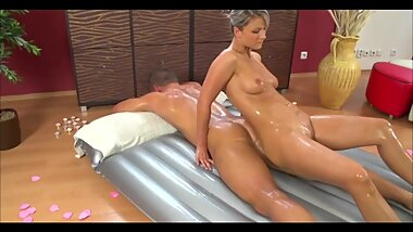 SUPERB BLONDE MASSAGE GIRL ANAL