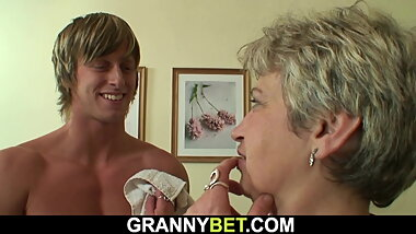 Hot-looking guy bangs old grandma