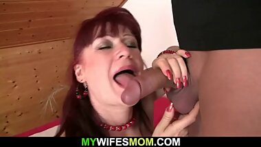Hot mother-in-law rides his cock and gets busted