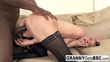 Old blonde gets a nice anal creampie from a big black cock!
