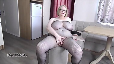 Sally teasing in her bodystocking